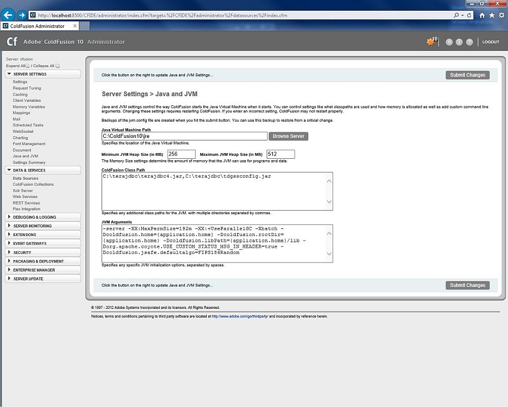 How to use the Teradata JDBC Driver with Adobe ColdFusion 8